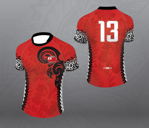 Tonga Rugby Jersey-Red/Black-Women