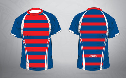Warm up shirt- Red/ navy Stripe