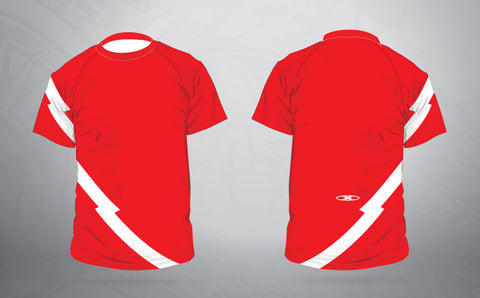 Warm Up Shirt-Red/white Lighting