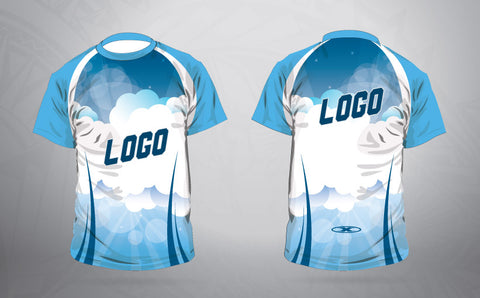 Custom Warm up shirt- Blue cloud
