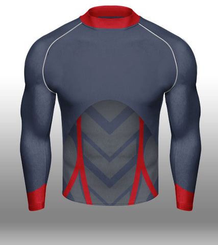 X-skin Navy/Red/Grey L/S Compression