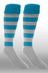 Hoops Rugby Sock- Electric Blue/white