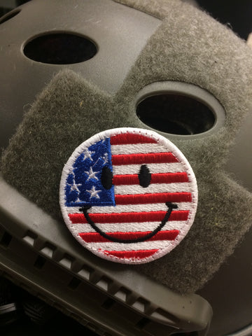 USA Flag Smiley Face Patch