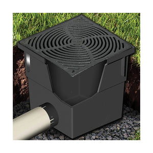 12inch x 12inch Black Flat Plastic Catch Basin - Grate Only
