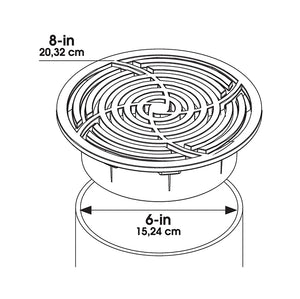 6inch Round Black Grate Specifications Drawing