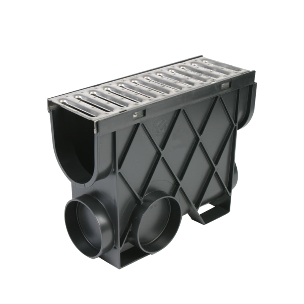 Storm Drain Inline Pit with Stainless Steel Grate