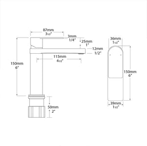 Cosmopolitan Sink Faucet in Chrome/Matte Black - Specifications Drawing