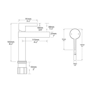 Martini Sink Faucet - Chrome/Matte White - Specifications Drawing