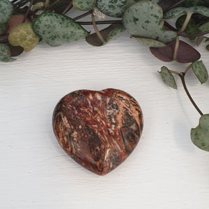 Jasper Red Leapord Skin - 30mm Heart