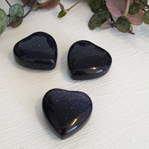 Gold stone Blue - 20mm Heart