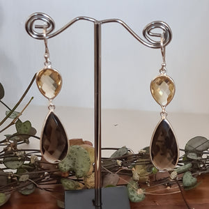 Citrine & Smoky Quartz Earrings
