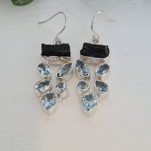 Black Tourmaline and Blue Topaz Earrings