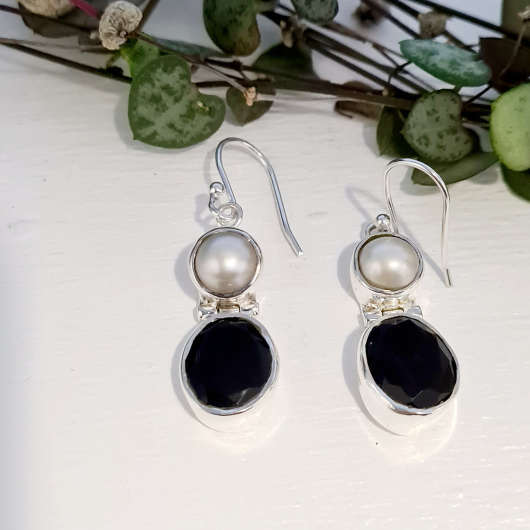 Black Onxy and Pearl Earrings