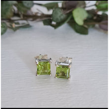 Peridot Square Stud Earrings