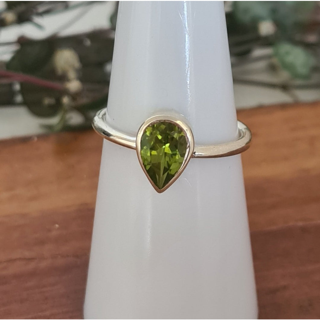 Peridot Tear Drop Ring