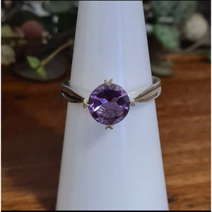 Amethyst Diamond Cut Ring