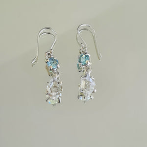 Herkimer Diamond & Blue Topaz Earrings