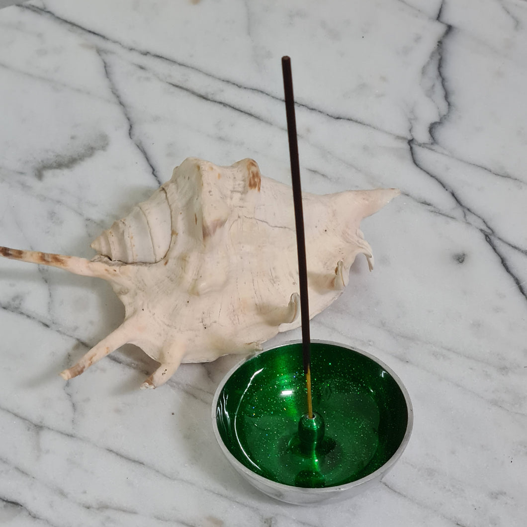 Incense Dish Green with Glitter