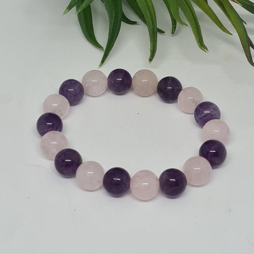Amethyst & Quartz Rose - Bracelet 10mm