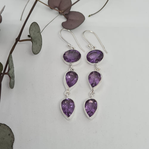 Amethyst Faceted Earrings