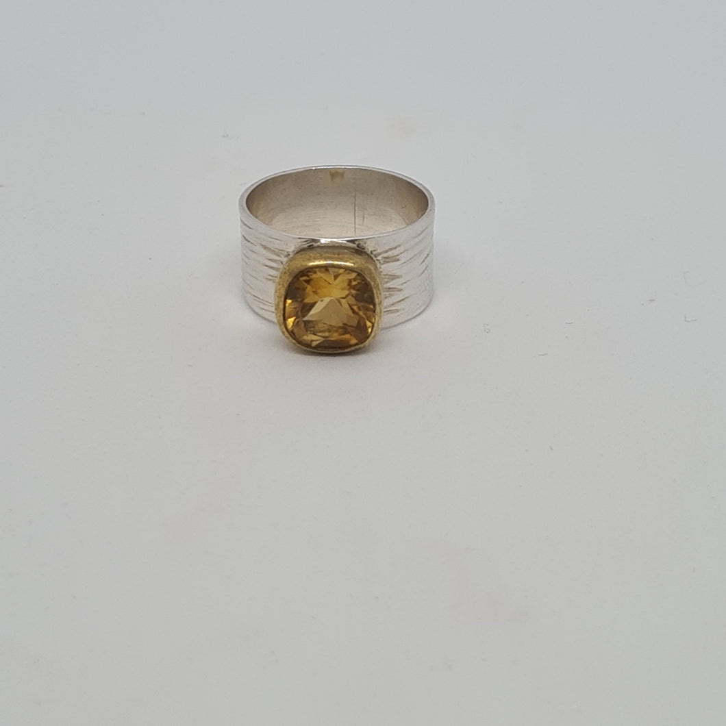 Citrine with Gold Edge Ring
