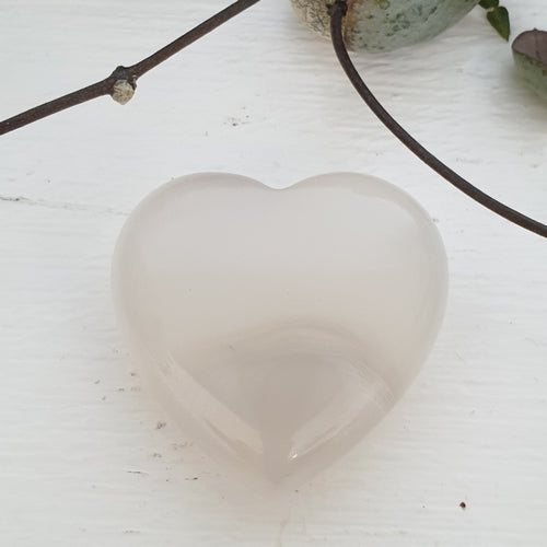 Agate White  - 30mm Hearts