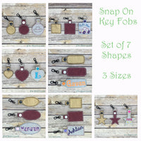 Snap On Blank Shape Key Fobs - Set of 7 Shapes