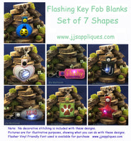 Flashing Snap On Blank Shapes Key Fobs - Set of 7 Shapes