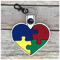 Snap On Autism Puzzle Key Fob