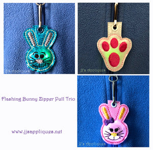 Flashing Easter Bunny Zipper Pull Trio