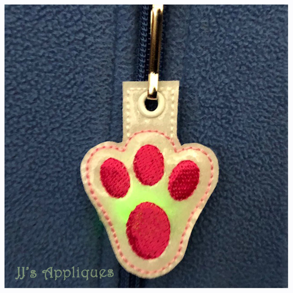 Flashing Bunny Paw Zipper Pull