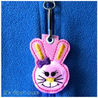 Flashing Bunny Girl Face Zipper Pull