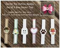 Bow Center Tie Outlines Set of 6