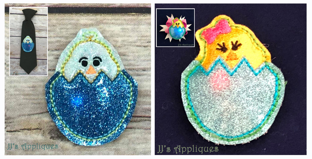 Flashing Chick in Egg Applique Feltie Flash Duo