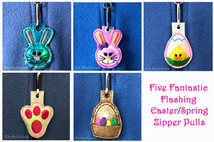 Easter Set of 5 Flashing Zipper Pulls