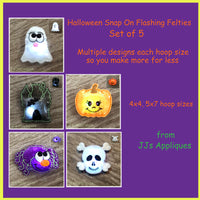 Halloween Set of 5 Flashing Snap On Felties