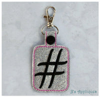 Snap On Hash Tag Key Fob