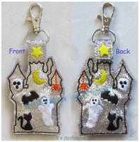 Flashing Snap On Haunted House Reversible Key Fob