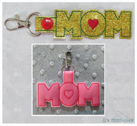 Snap On Mom Heart Key Fob Set