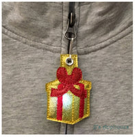 Flashing Present Applique Zipper Pull