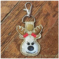 Flashing Snap On Reindeer Girl Key Fob