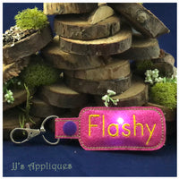 Flashing Snap On Round Rectangle Shape Blank Key Fob
