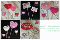 Valentine Flashing Wands Set of 5
