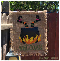 Witch in Caldron Garden Flag