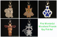 Woodland Friends Key Fobs - Set of 5