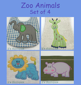 Zoo Animals Set of 4 Appliques