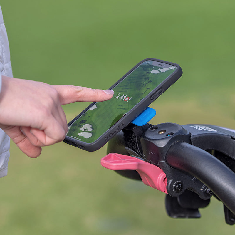 Golfshot app with iphone attached to golf buggy