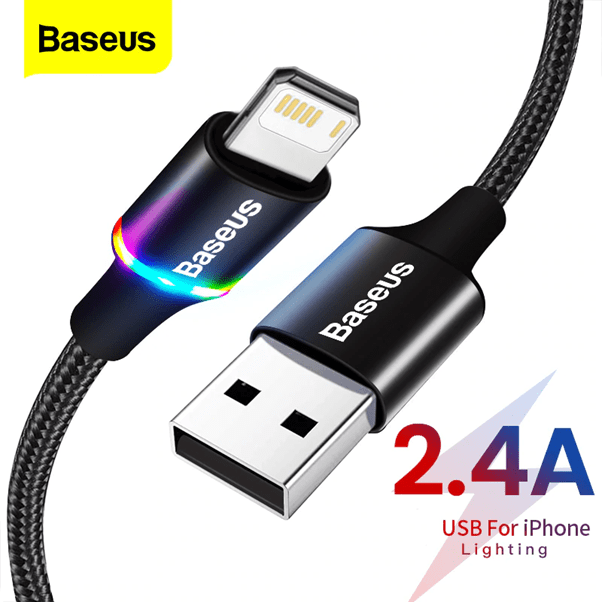 USB Charger Cable for iPhone with LED Indicator Light - Red or Black