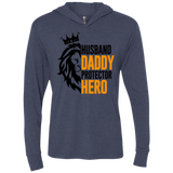 Husband Daddy Protector Hero Triblend LS Hooded T-Shirt