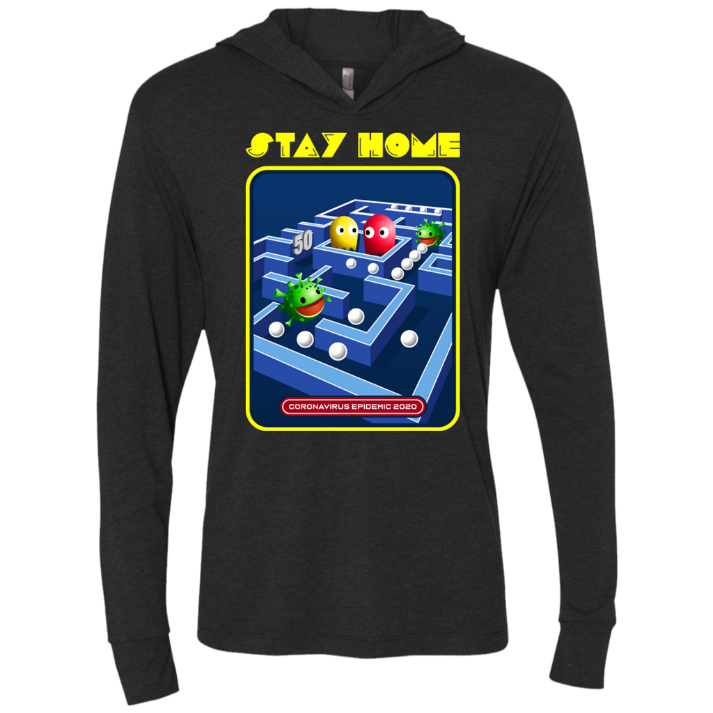 STAY HOME Triblend LS Hooded T-Shirt